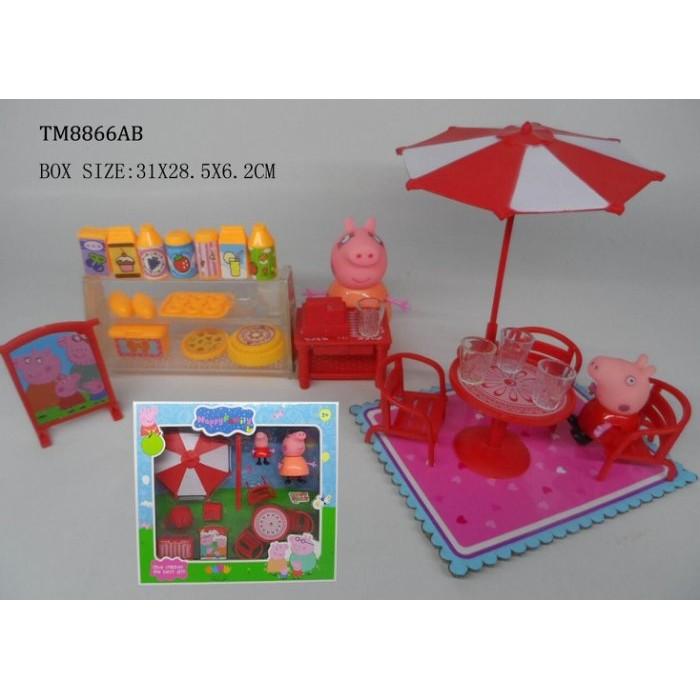 阿痞3C  Peppa pig 粉紅豬小妹佩佩豬廚房套裝組食物櫃食物扮家家酒兒童玩具