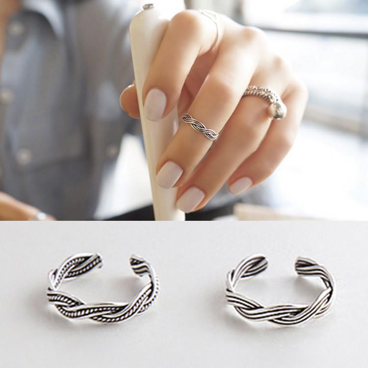 三件起拍可混拍 價包郵韓國 S925 純銀扭線復古泰銀尾戒指關節戒指