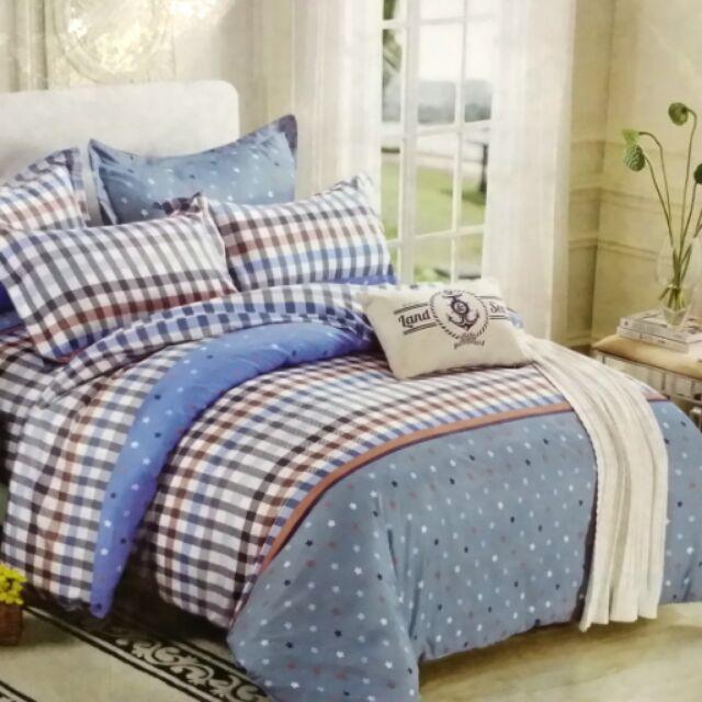 藍色格紋6 6 2 尺雙人加大床包3 件組床包枕頭套 薄款