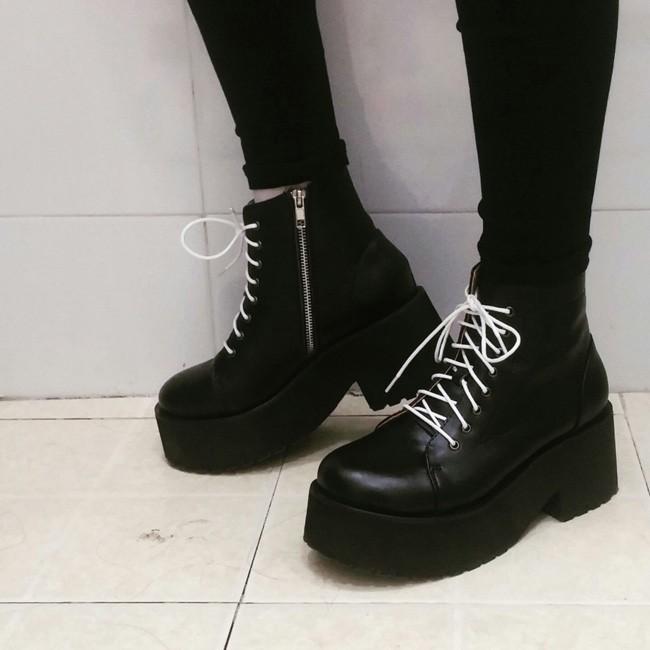 ❤❤❤日系增高顯瘦厚底小短靴厚底松糕大頭系帶女學生單鞋馬丁娃娃鞋潮