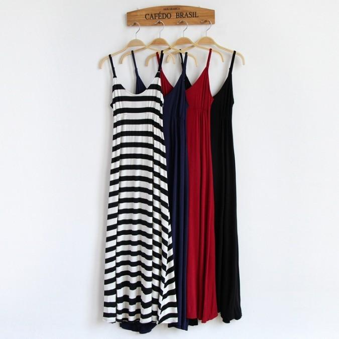現預~M H ~use ~ 百搭莫代爾吊帶素色素面條紋可調肩帶高腰長洋裝內搭洋裝4 款