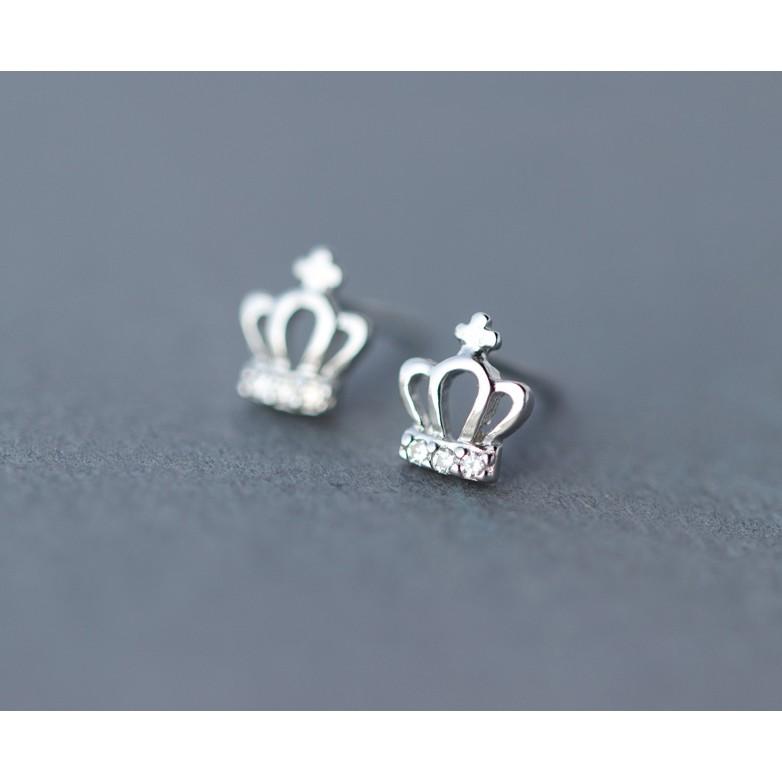 皇后銀飾迷你鑲鑽皇冠耳環 氣質耳釘不過敏925 純銀E24