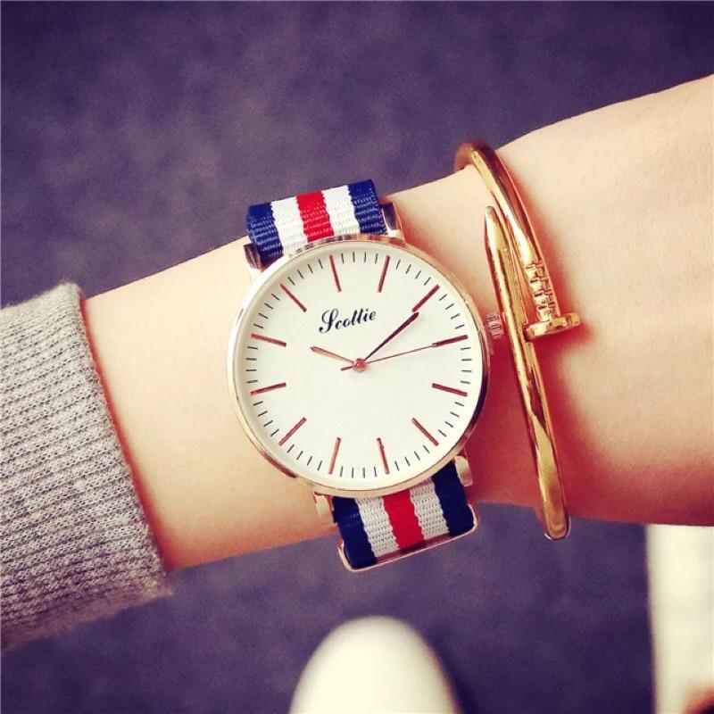簡約潮流 帆布袋手錶男女中學生條紋錶Migo 小舖