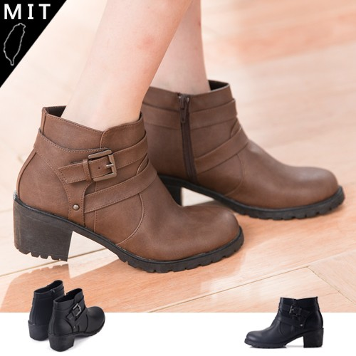 Mrs 女款百搭 皮帶扣環側拉鍊中跟短靴踝靴機車靴馬靴MIT 製2 色