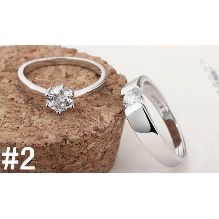 日韓手飾簡約飾品情侶對戒開口活口鋯石女戒指銀戒指結婚戒子