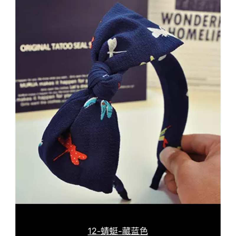 韓國百搭甜美兔耳朵頭箍發飾品日韓可愛寬邊布藝蝴蝶結髮卡發箍008 9