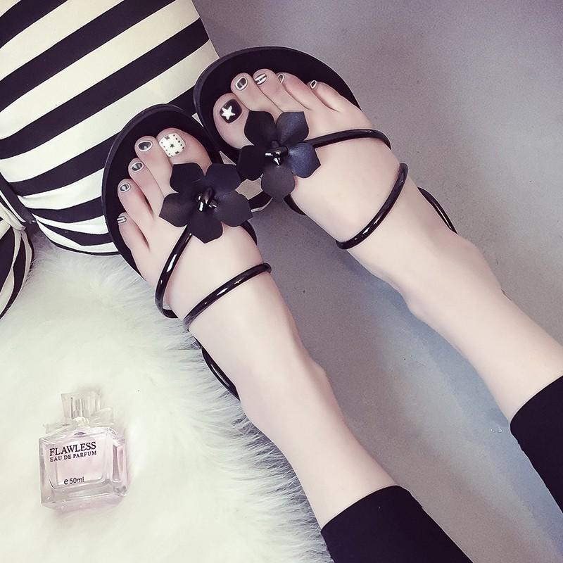 甜美花朵平跟涼拖套趾拖鞋顯瘦沙灘兩穿平底夾腳涼鞋潮尖頭高跟鞋厚底涼鞋厚底跟鞋楔形涼鞋楔形跟