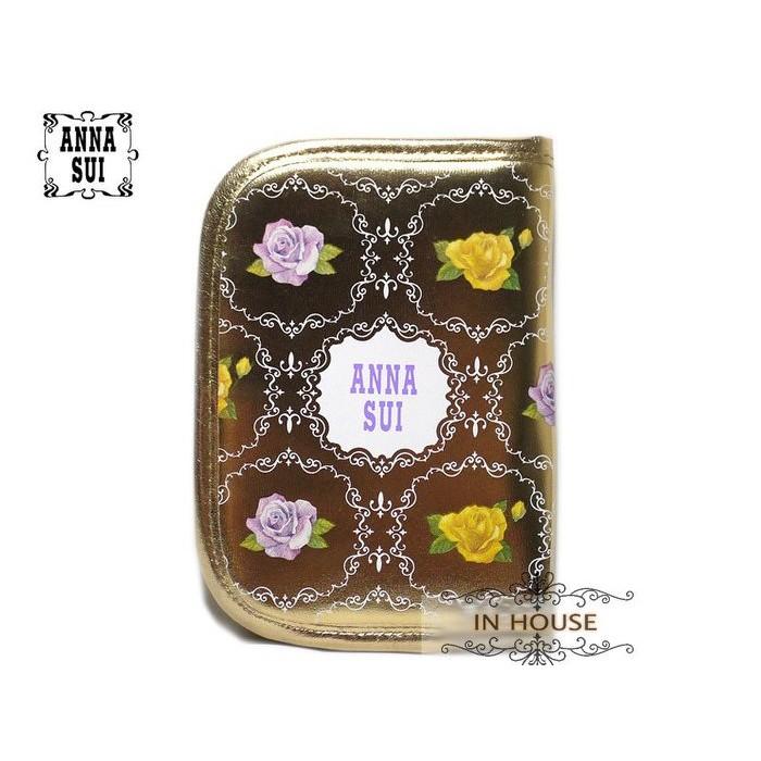 IN House ANNA SUI 雜誌贈品包安娜蘇金色亮皮護照夾存摺本卡片收納夾手帳本