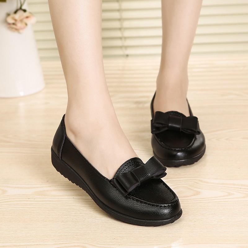 肯德基工作鞋平底軟底防滑女鞋豆豆鞋中餐廳黑皮鞋平跟媽媽鞋單鞋休閒鞋