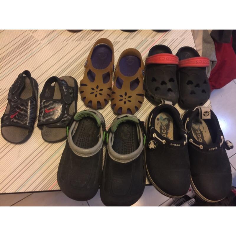 正牌專櫃~卡洛池crocs 童鞋及耐吉 涼鞋7 吋(17cm ~小孩換鞋快均一價
