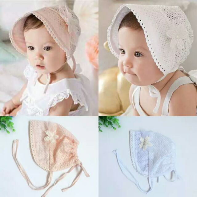 四季款 寶寶宫廷帽嬰兒透氣純棉公主帽宮廷帽蕾絲花朵