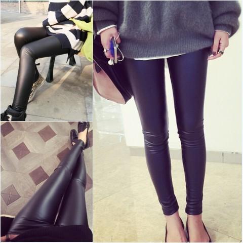 秋裝 高腰PU 皮褲女外穿仿皮高腰小腳長褲緊身顯瘦薄款打底褲