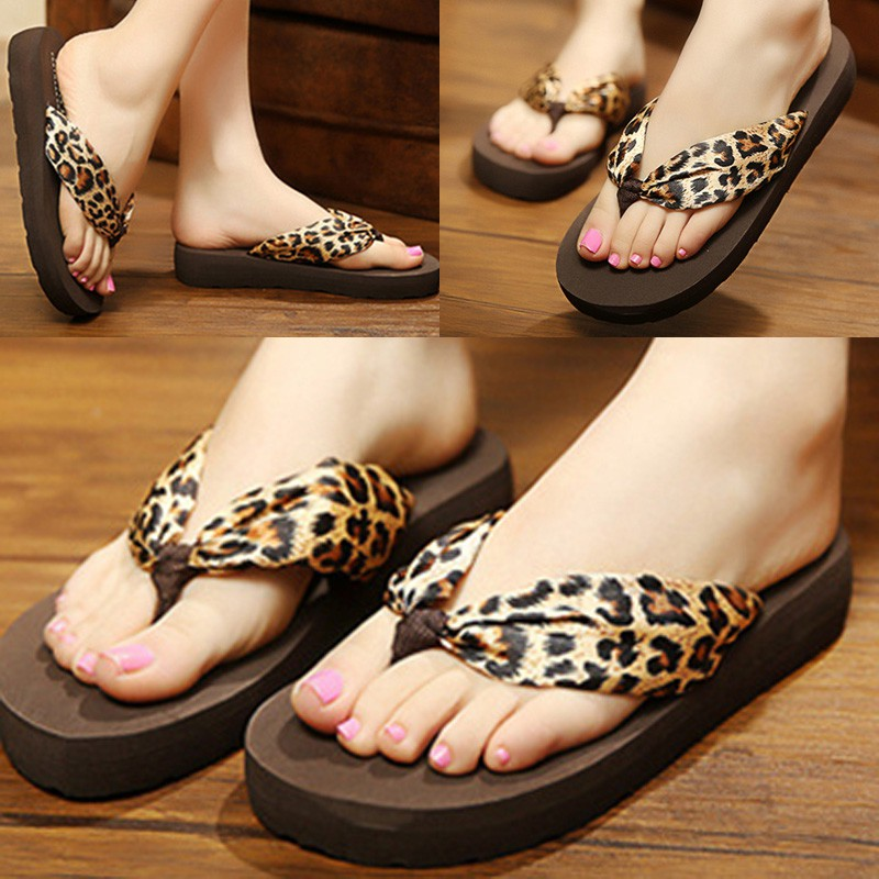 女鞋休閒防滑豹紋緞面人字拖沙灘拖鞋涼鞋