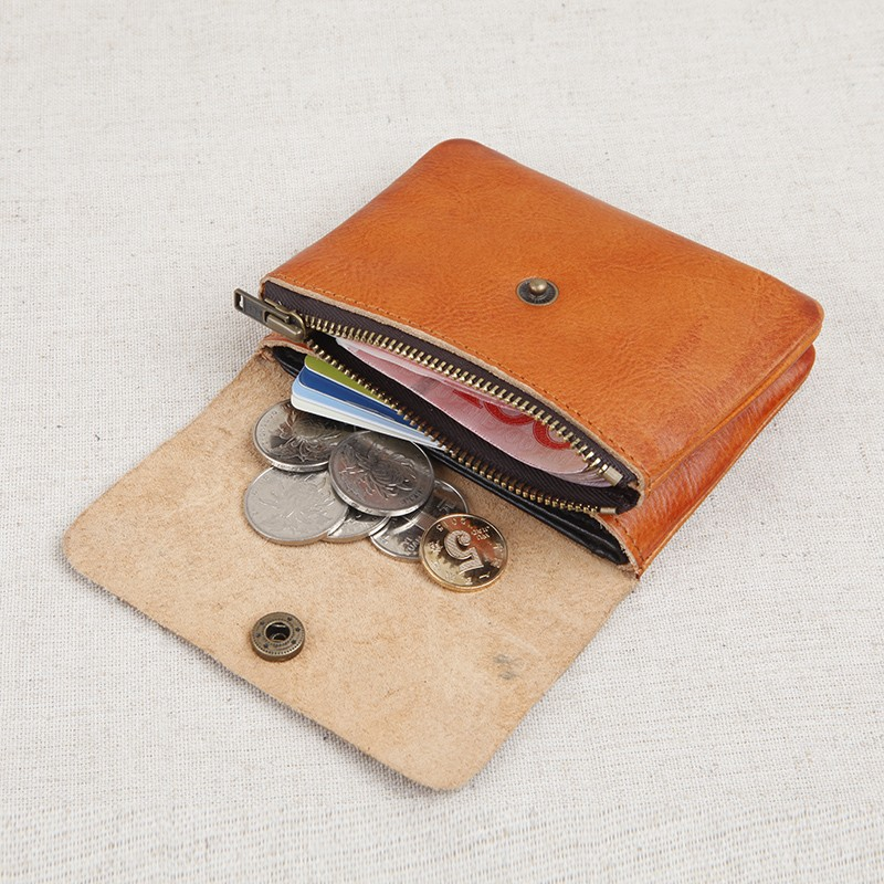 真皮男迷你小錢包短款牛皮搭扣皮夾子小清新學生復古女零錢包硬幣