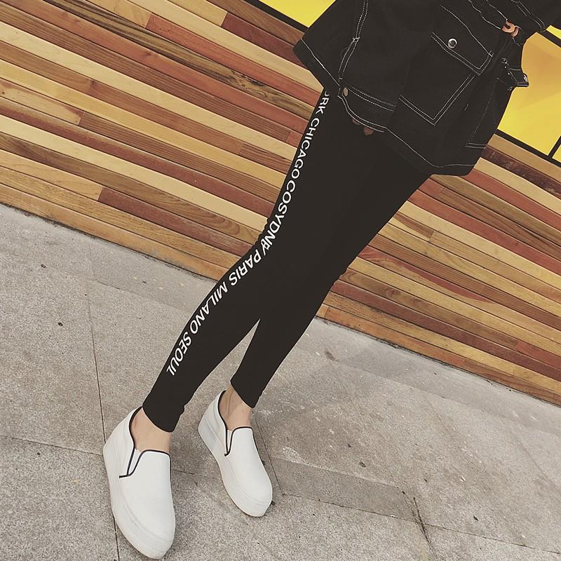 2016 新品 外穿顯瘦鉛筆褲女生長褲高腰字母小腳鉛筆褲學生褲子A0224