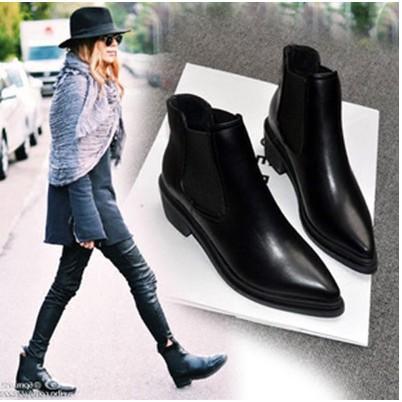 Breeze  街拍明星同款真皮牛皮尖頭粗跟短靴黑色機車靴騎士靴馬靴裸靴馬丁靴 款女低跟B