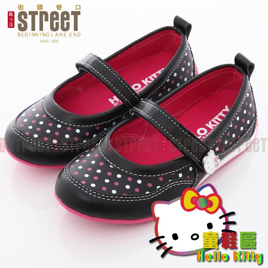 ~街頭巷口Street ~Hello Kitty 凱蒂貓童鞋可愛點點素雅風格魔鬼氈娃娃鞋K