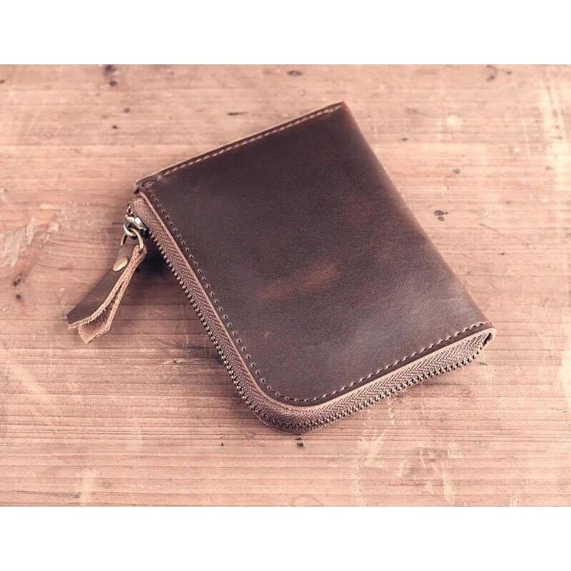 Catch Robot 牛皮零錢包真皮錢包咖啡色錢包卡夾名片夾卡包復古簡約皮包綠色紅色