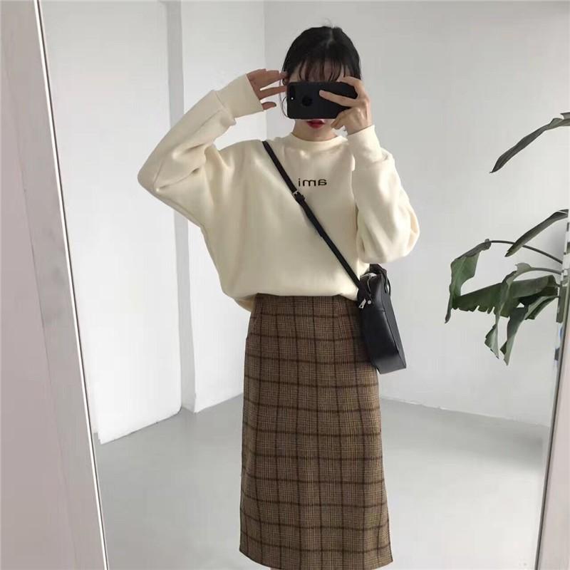 MOMO ~ ~❤2017  顯瘦實拍韓妞學生韓國 潮流 加厚毛呢包臀裙中長款開叉格子一步