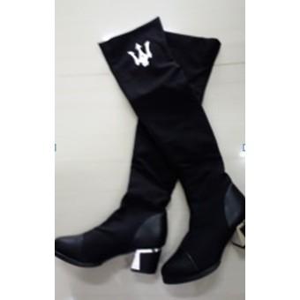103 009 黑色絨面皮革拼接粗跟靴子長靴