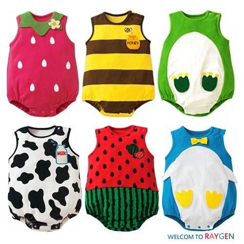 六款動物水果 無袖包屁衣背心哈衣(乳牛企鵝草莓 區~2E122X648 ~