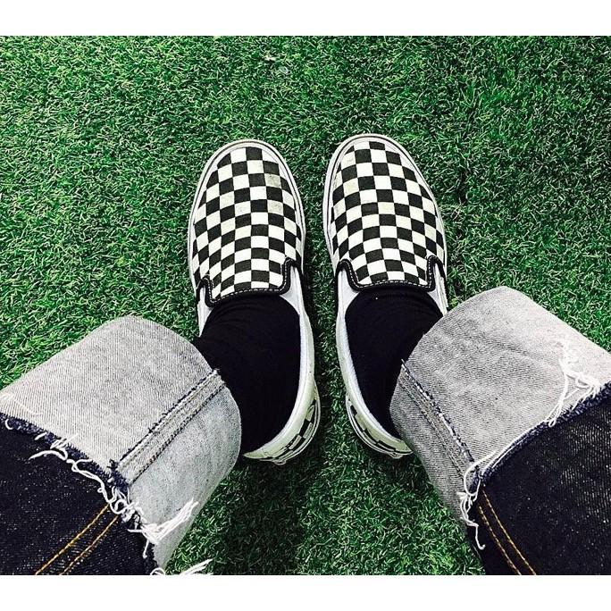 VANS 范斯棋盤格Slip On 懶人鞋黑白格子帆布鞋羅志祥小豬余文樂休閒鞋滑板鞋潮鞋