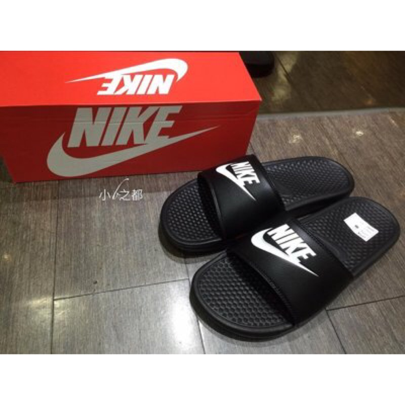 Nike Benassi JDI JUST DO IT LOGO GD 拖鞋黑白字3438