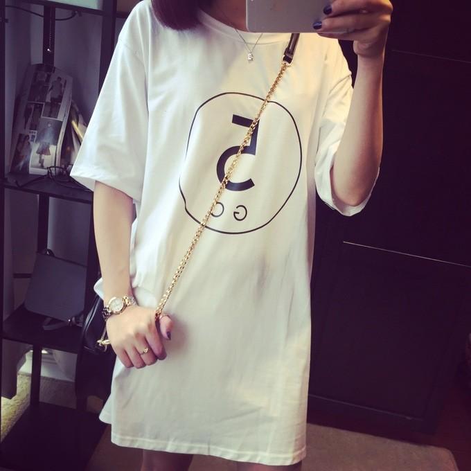 數字5 棉質寬鬆大碼中長款短袖t 恤