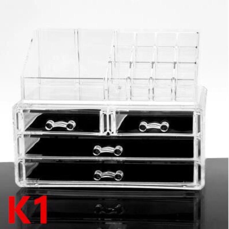 大號透明壓克力化妝品收納盒韓國抽屜式桌面化妝盒收納盒收納櫃口紅彩妝整理盒美得像專櫃收納展示
