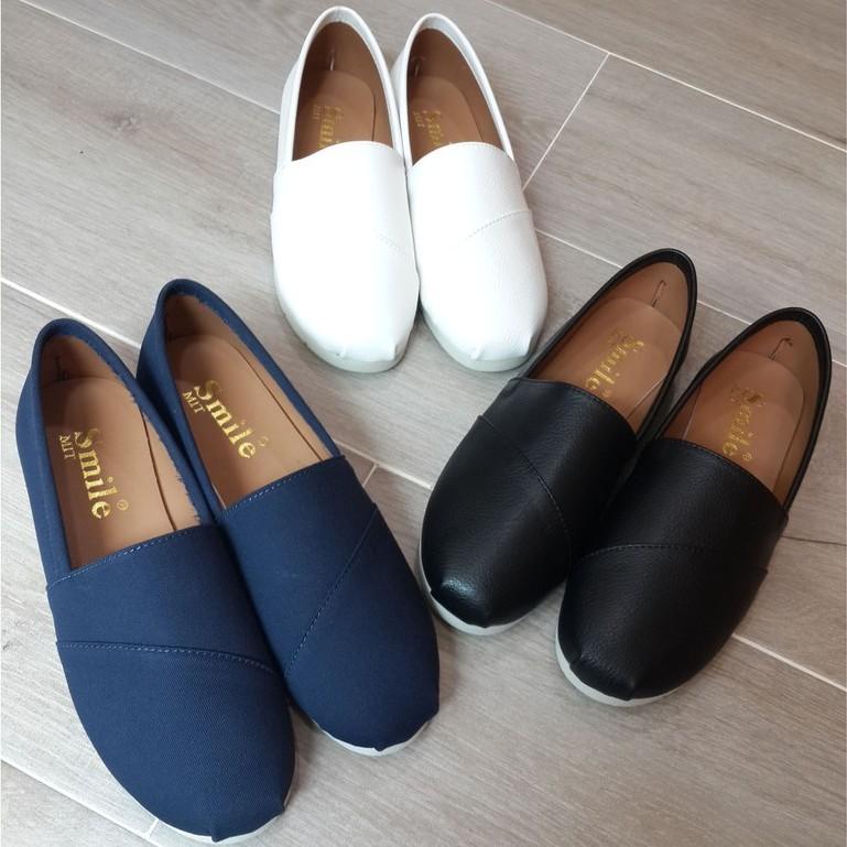 女款超好搭素面懶人鞋小白鞋白布鞋包鞋帆船鞋帆布鞋鞋子休閒鞋 製MIT 帆布藍漆面黑白色