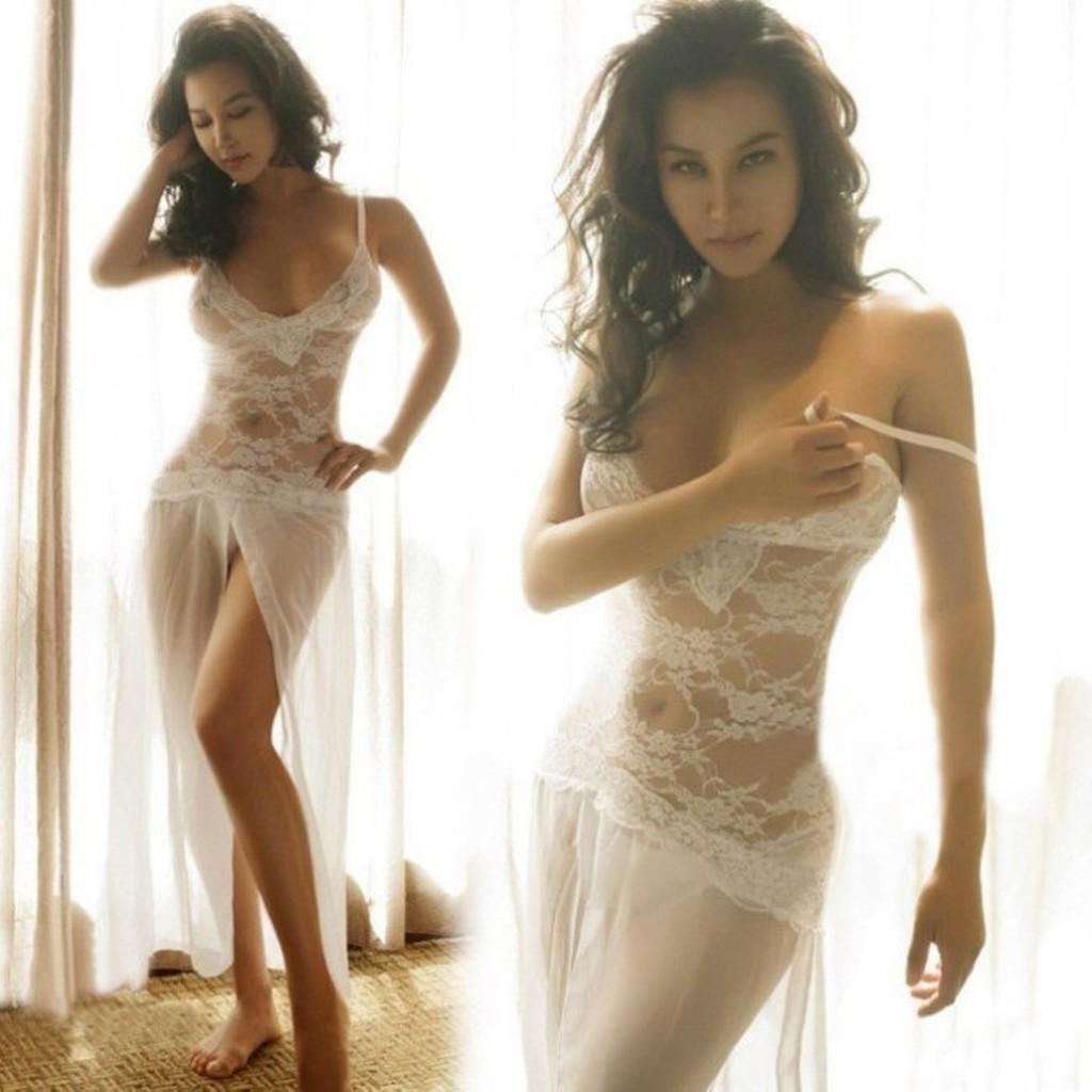 1038 性感蕾絲連身長裙飄逸裙擺美背深V 透視透明誘惑情趣睡衣女裝 睡衣