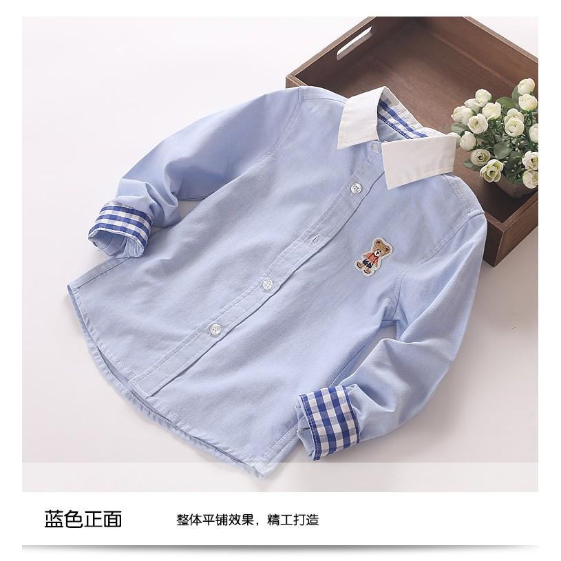 妙妙屋男童禮服襯衫男童長袖襯衫兒童白色翻領襯衫畢業典禮襯衫