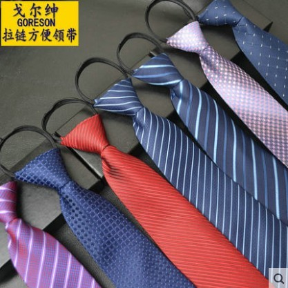 POLO 衫爆款 實拍~~FF 推出~~男士商務正裝工作領帶拉鏈領帶一拉得懶人方便結婚領帶