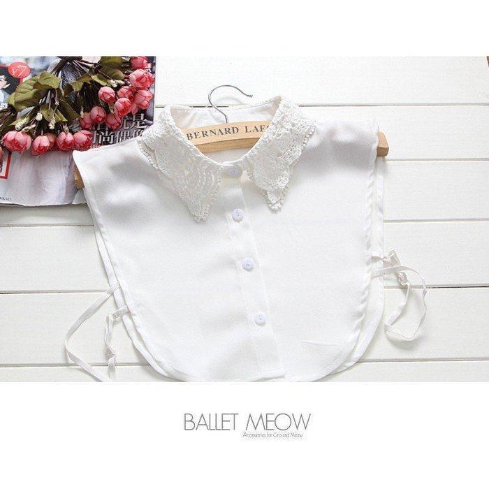 貓咪跳芭蕾 .緹花白色假領子襯衫毛衣針織衫內搭~BC03691 ~ .單色