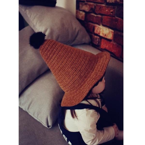 ~灰熊Q ~Q81  兒童帽子小錐子百搭男女童可爱毛線帽寶寶魔法巫師帽禮帽潮