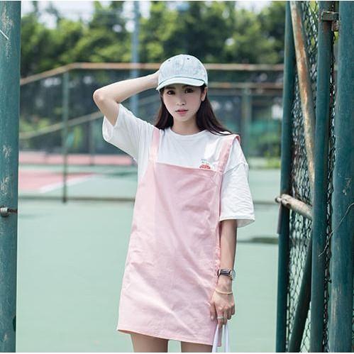 韓國減齡學院風愛心口袋純色背帶裙女前後兩穿連衣裙