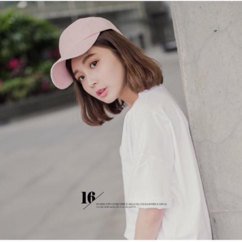 洋芋妹•正韓純淨女孩素色棒球帽粉