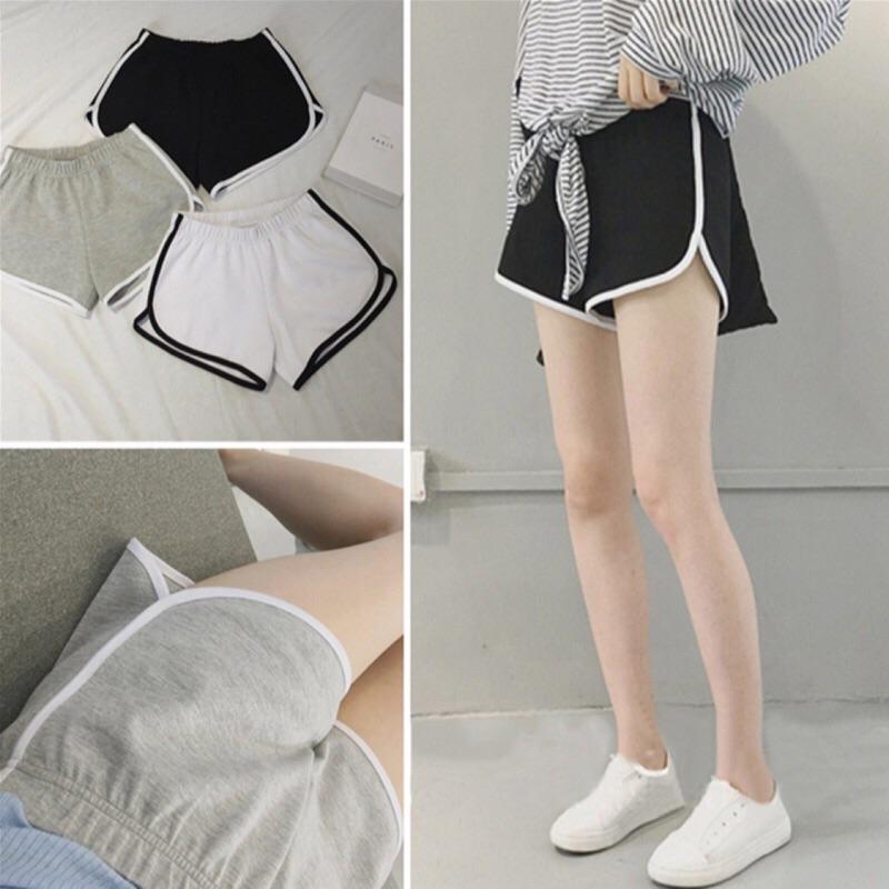 ~采希Abby 's shop ~ 休閒 大學風撞色圓弧收邊素面彈性短褲