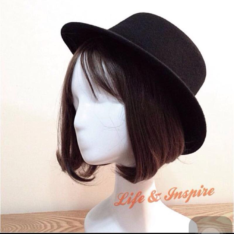 潮流GD 同款 黑色大平檐圓頂帽復古紳士禮帽百搭街頭單品男女