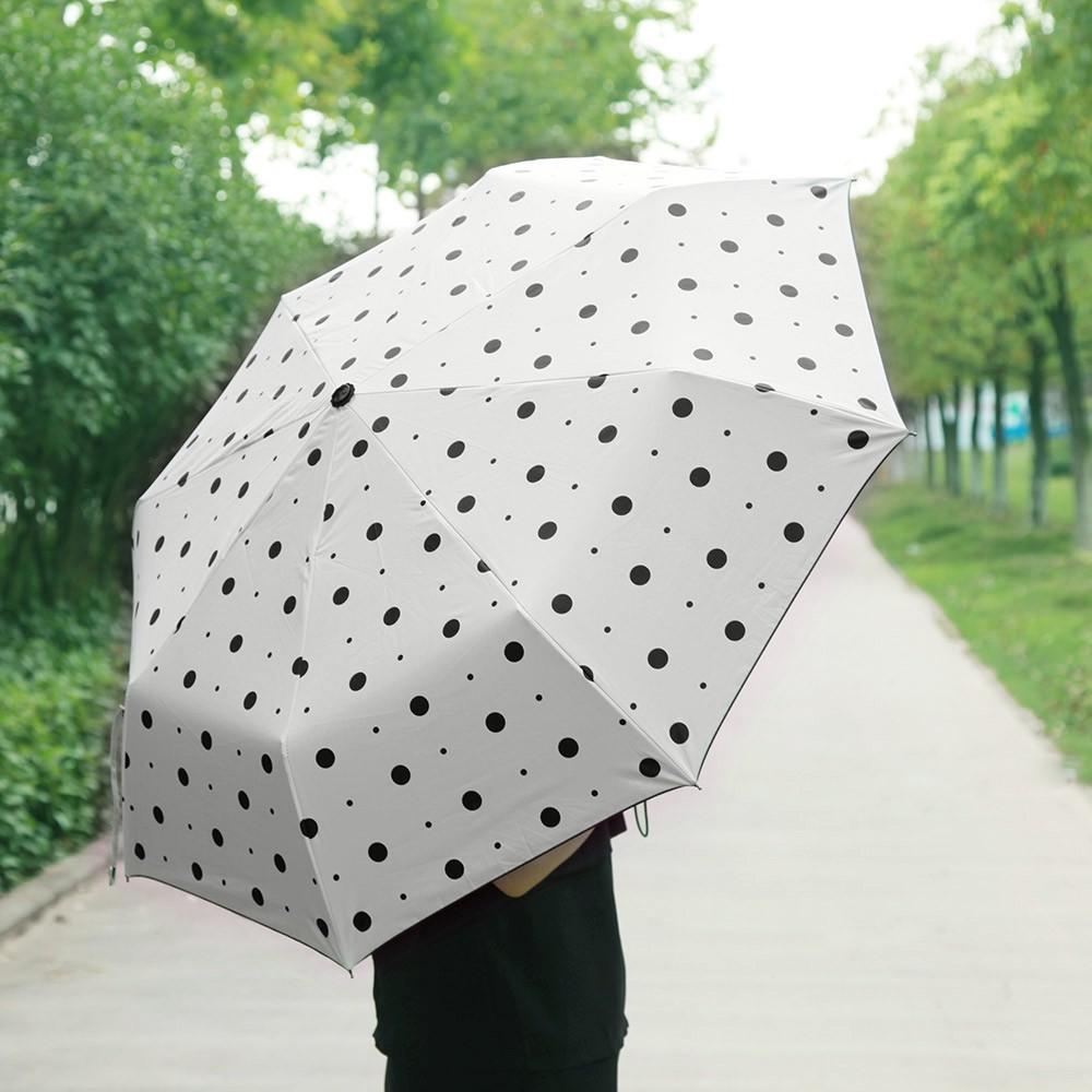 韓國 女雨傘折疊晴雨兩用波點遮太陽傘超強防紫外線黑膠雨傘
