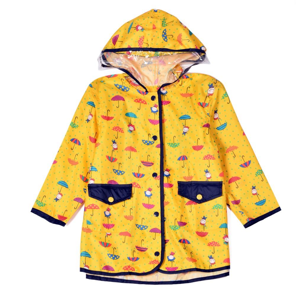兒童淺黃色印小雨傘 防水風衣雨衣