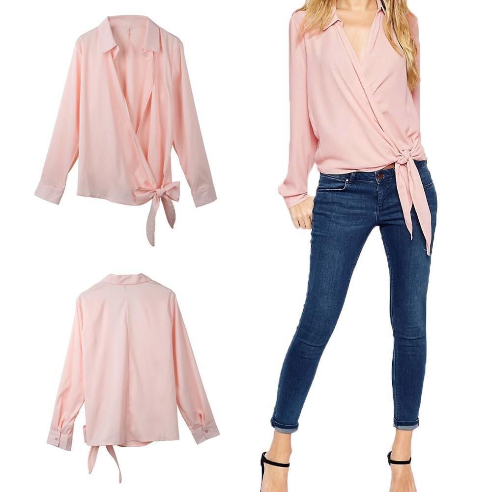 女裝 長袖襯衫V 領帶扣交叉前襟側面系結 女款V 領長袖上衣粉紅
