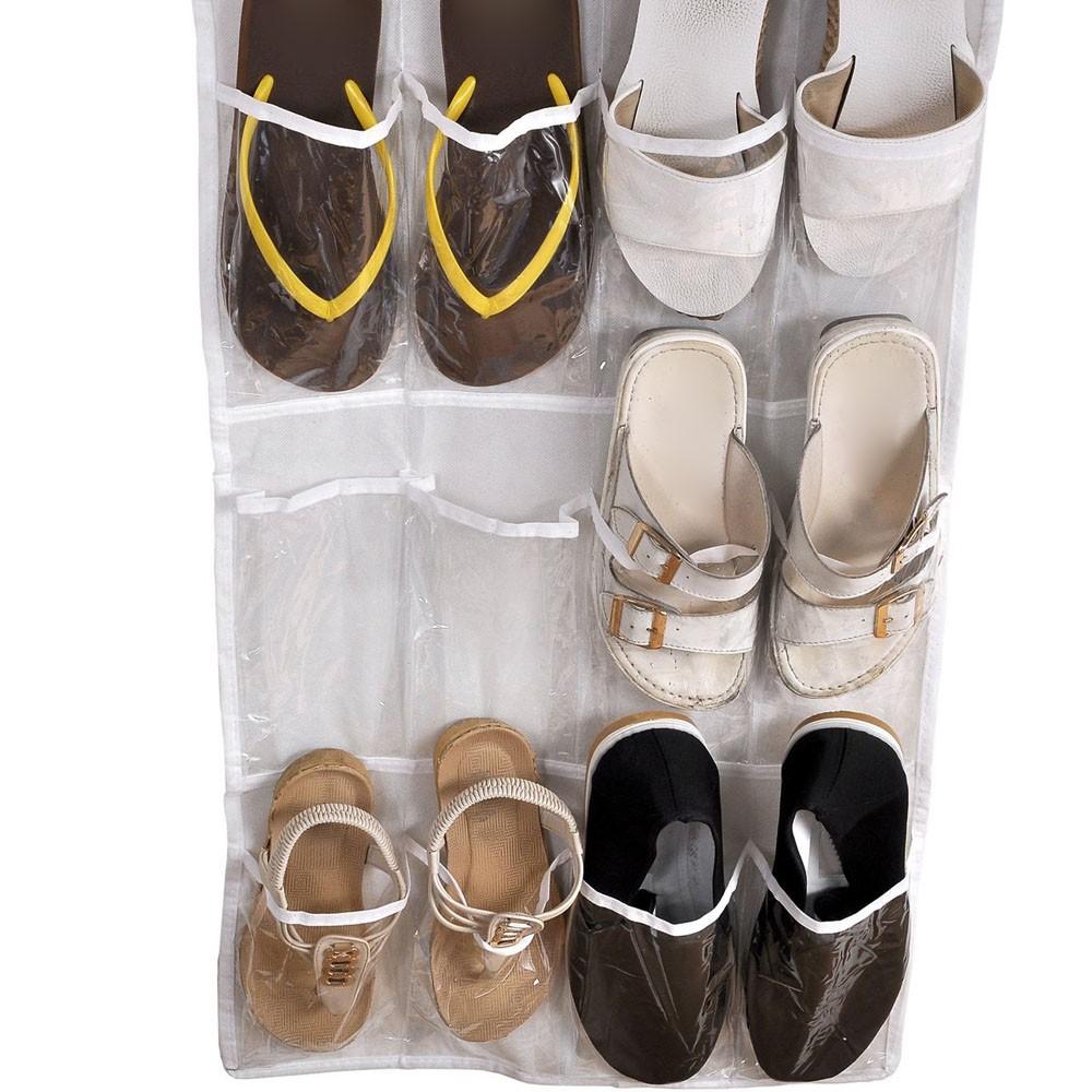 透明折疊門掛鞋儲物袋6 層24 口袋掛衣櫃收納袋