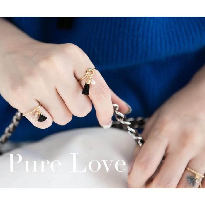 Pure Love 樂芙正韓~R0077 ~韓系簡約打結黑色流蘇開口戒指金銀