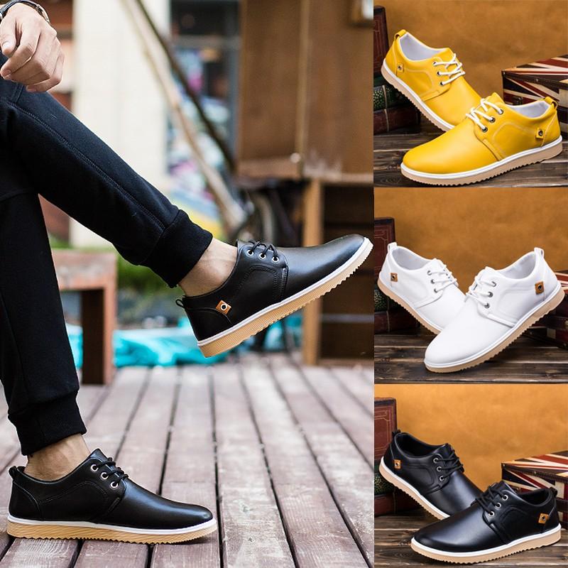潮流指標正韓 男士商務休閒皮鞋英倫青年低筒 潮鞋繫帶百搭圓頭鞋子