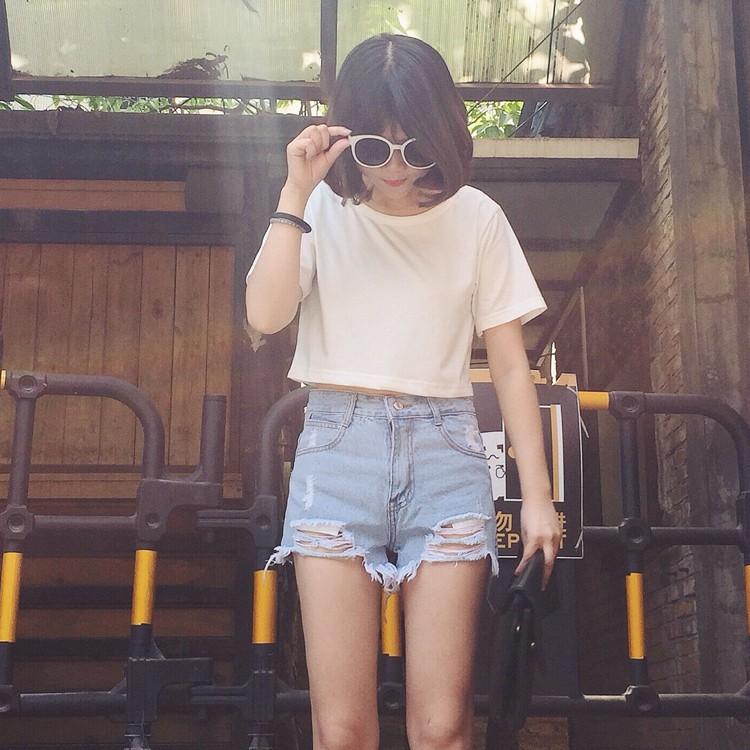 正韓女生衣著 潮流破洞流蘇抓痕高腰百搭顯瘦丹寧牛仔短褲熱褲