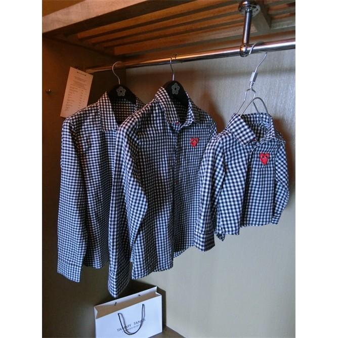 秋裝 親子裝一家三口翻領黑白格子長袖襯衫
