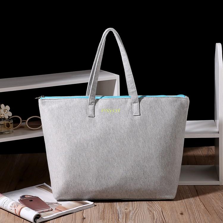 法國PAYOT 大容量簡約氣質素面灰色棉質托特包肩背包手提包