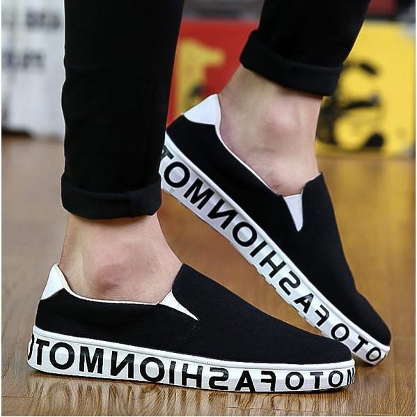 E310 101 新品 男鞋 板鞋男士休閒樂福鞋一腳蹬懶人布鞋潮鞋黑色44