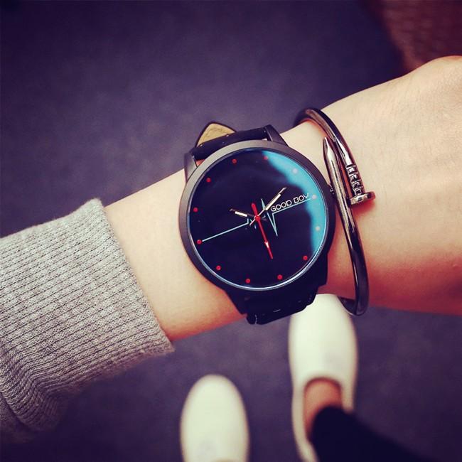 韓國原宿復古風休閒簡約藍光玻璃心電圖潮表 學生男女情侶手錶
